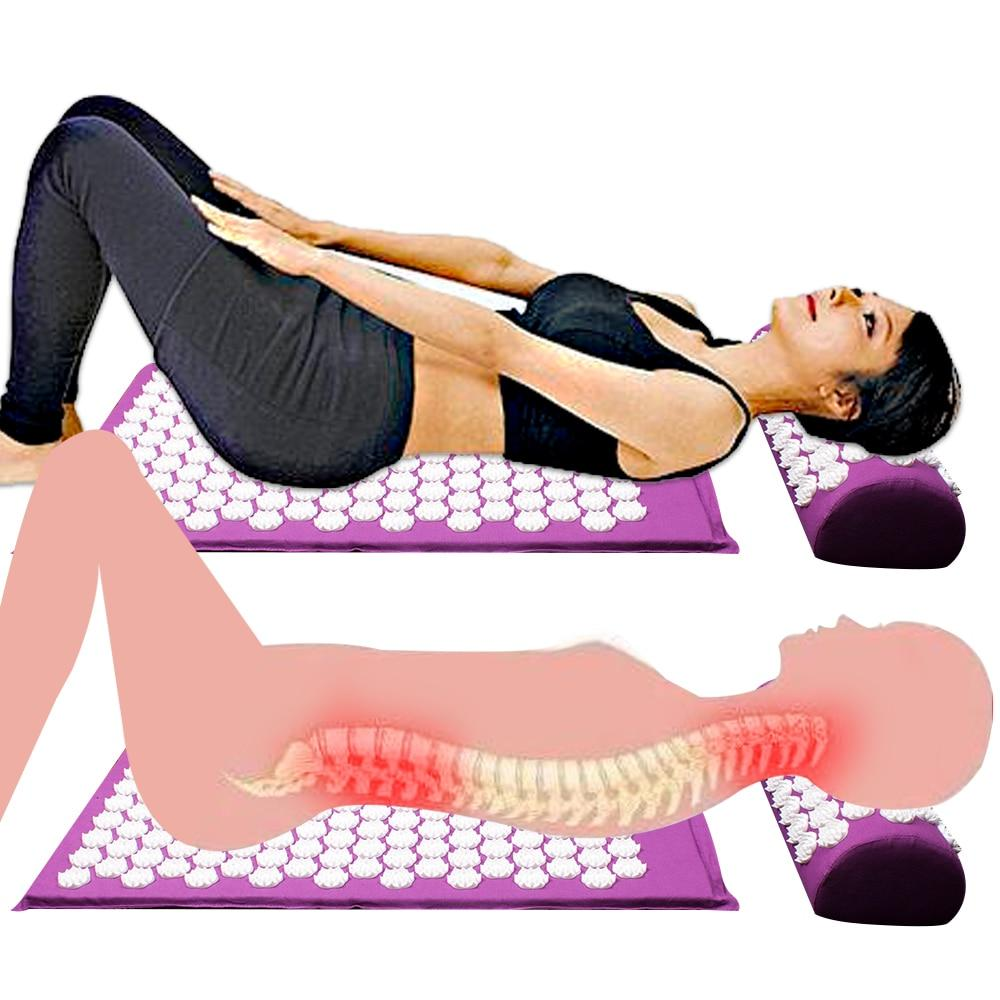 Massager Cushion Acupuncture Sets Relieve Stress Back Pain Acupressure Mat/Pillow Massage Mat Rose Spike Massage and Relaxation - outoff