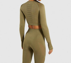 Women Yoga Set Gym Seamless 2 Piece Suit - outoff