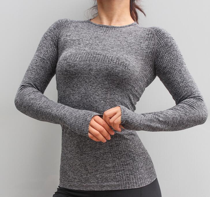 High Stretch Comfort Sport Seamless Long Sleeve Top Women Gym Tops - outoff
