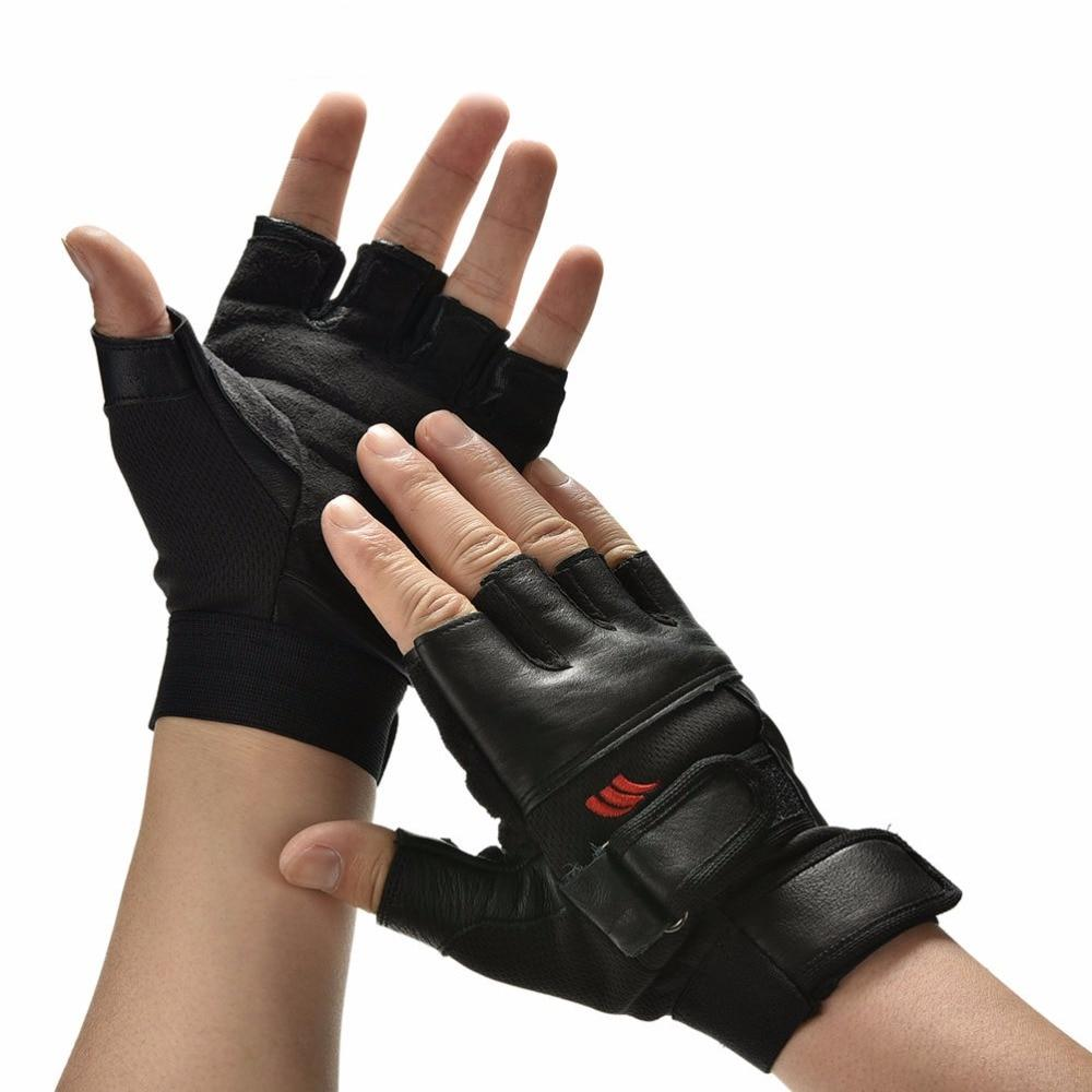 Black PU Leather Weight Lifting Gym Gloves Workout Wrist Wrap - outoff