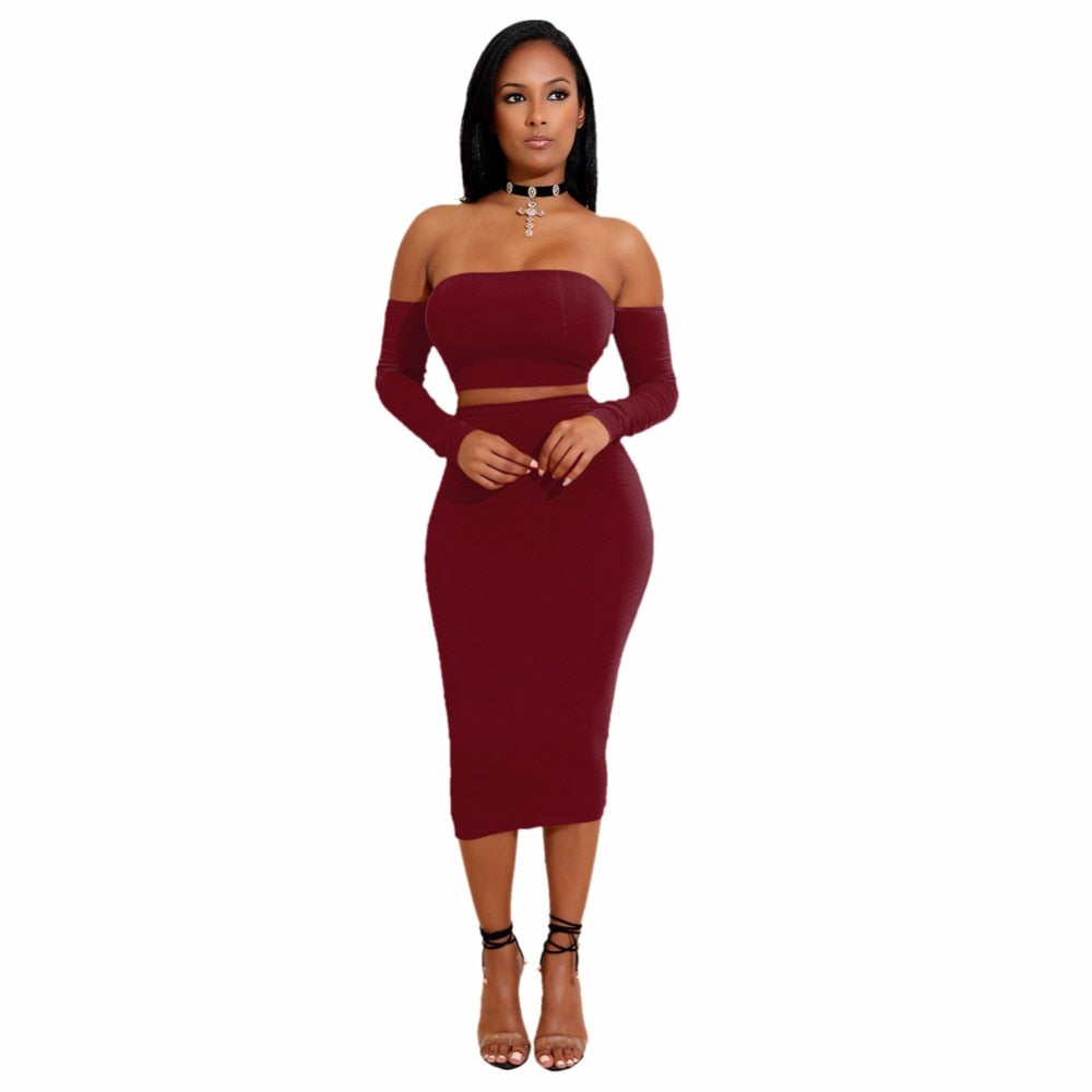 Sexy Women Two Pieces Set Off Shoulder Lace Up Back Long Sleeve Backless Crop Top Bodycon Pencil Skirt Set - outoff