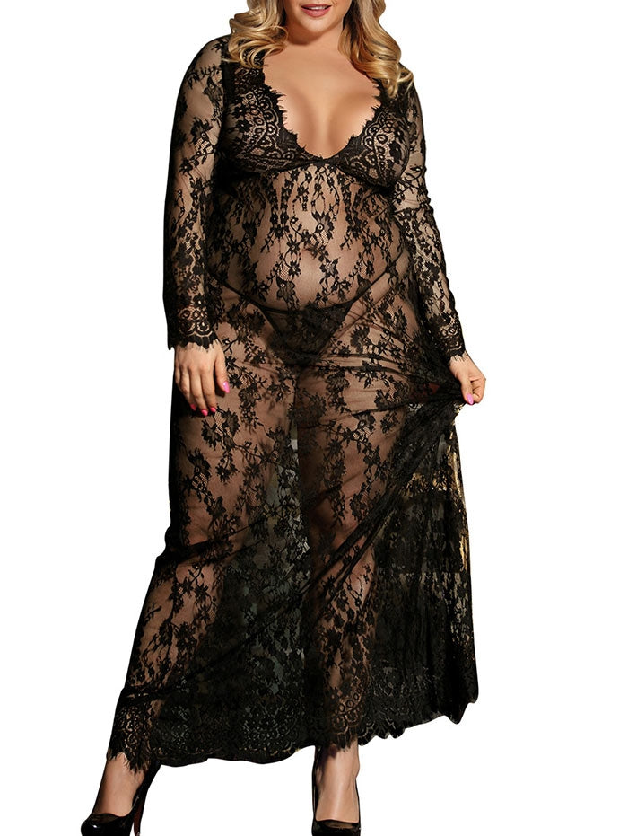 Plus Size Maxi Lace Lingerie Dress