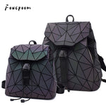 Fashion Women Luminous Backpacks Female Shoulder Bag Girl Daily Backpack Geometry School Folding Bag Travel School Bags Hologram - outoff