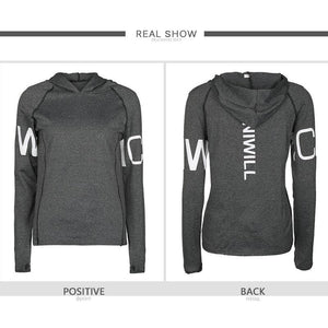 Women's Yoga Shirts Long Sleeve Letter Print Yoga Tops Sportswear Fitness Quick Dry Breathable Tracksuit - outoff