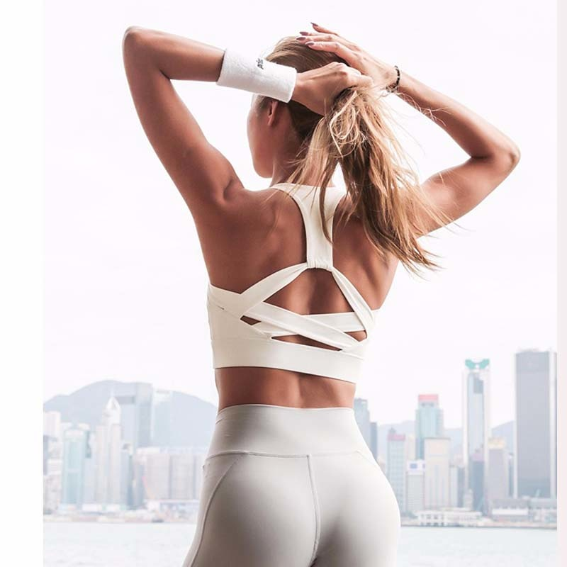 White Strap Push Up Sports Bra for Women Gym Running yoga top Bra Athletic Vest Hollow out Sportswear Underwear
