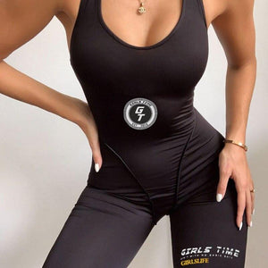 OUTOFF Fashion Fitness Jumpsuit Women Black Print - outoff