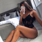 Summer Lace Bodysuit Women Hollow Out Bodycon Sexy Bodysuit Jumpsuit Overalls Streetwear - outoff