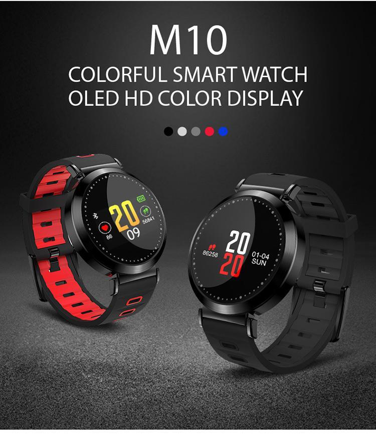 Fitness Bracelet IP67 Waterproof Color-Screen Bluetooth Smart Wristband M10 Heart Rate Monitor Sport Smart Tracker - outoff