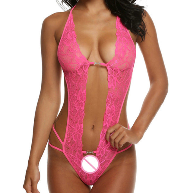 valentine's day sexy lingerie hot erotic lace deep v neck teddy sexy erotic underwear lingerie lenceria sexy costume - outoff