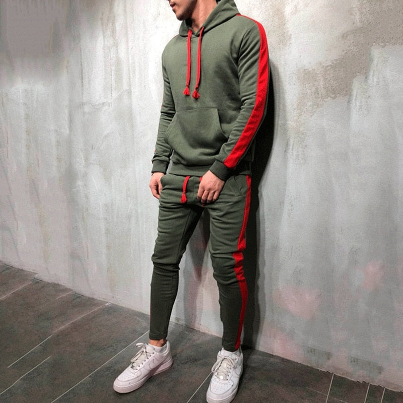 2 Pieces Sets Men Tracksuit Hooded Sweatshirt +Drawstring Pants Male Stripe Patchwork Hoodies - outoff