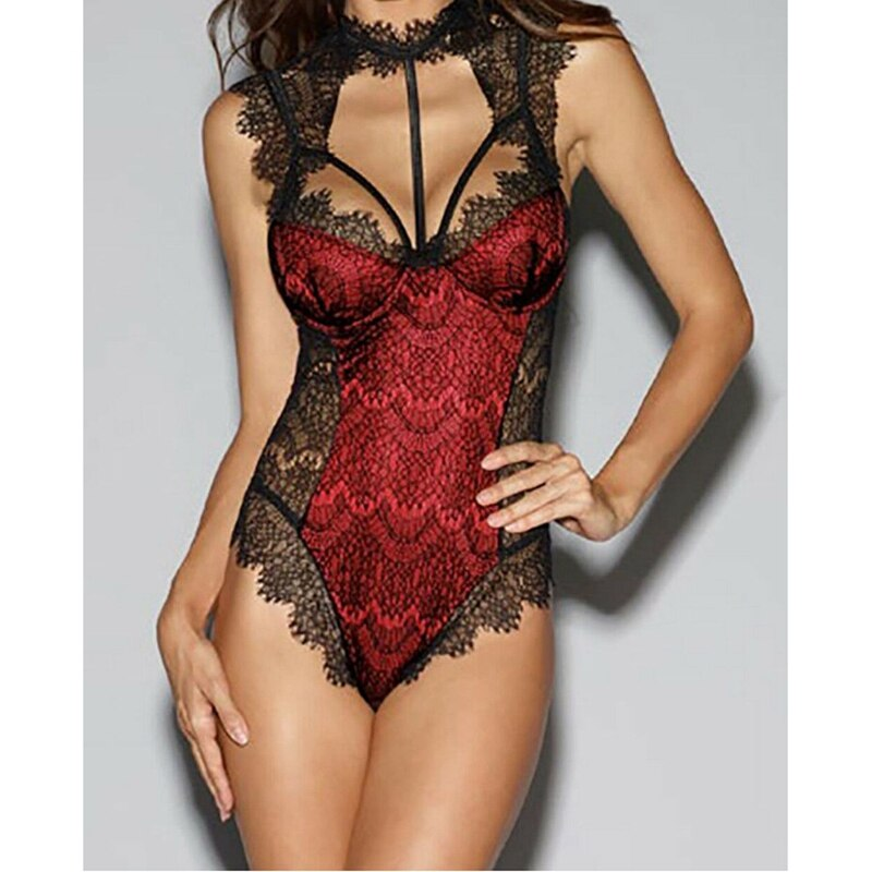 Sexy Women Backless Lingerie Bodysuit Teddies Lace Choker Sleepwear Front Hollow out Babydoll Bodysuit Nightwear Underwear