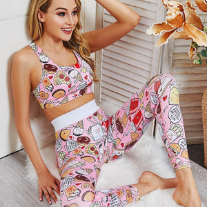 Cartoon Food Printed Pink Two Piece Set Fitness Women - outoff
