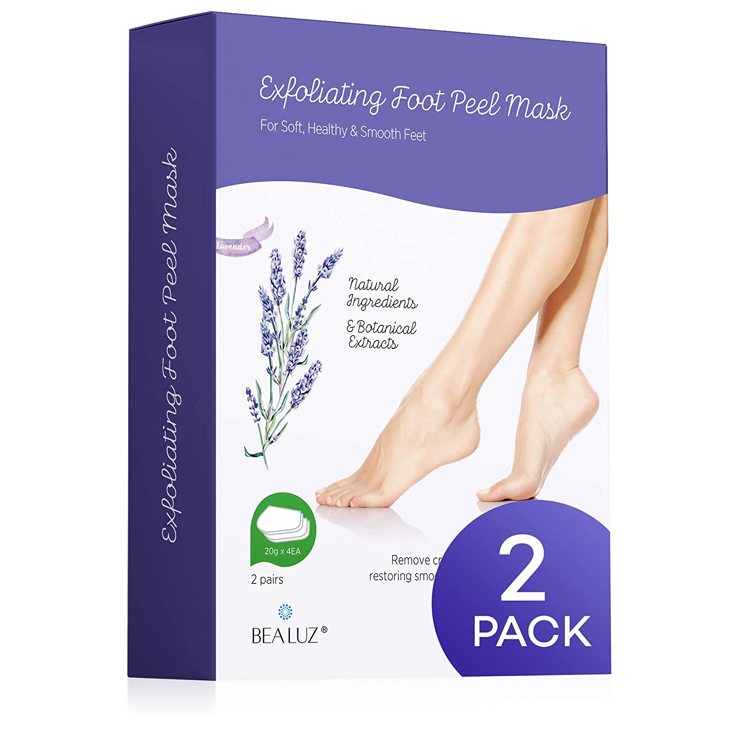 2 Pairs Foot Peel Mask Exfoliant for Soft Feet in 1-2 Weeks, Exfoliating Booties for Peeling Off Calluses & Dead Skin, For Men & Women Lavender by Bea Luz - outoff