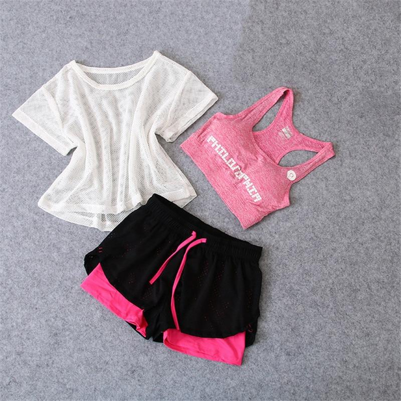 3 Pcs Set Women's Yoga Suit Fitness Clothing Sportswear For Female Workout Sports Clothes Athletic Running Yoga Suit Sets - outoff