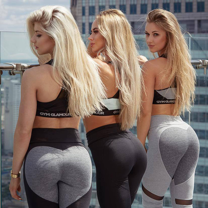 Sexy Heart Yoga Pants Women Patchwork Yoga Leggings Women Push Up Leggins Sport Women Fitness Legging Running Pants Women - outoff