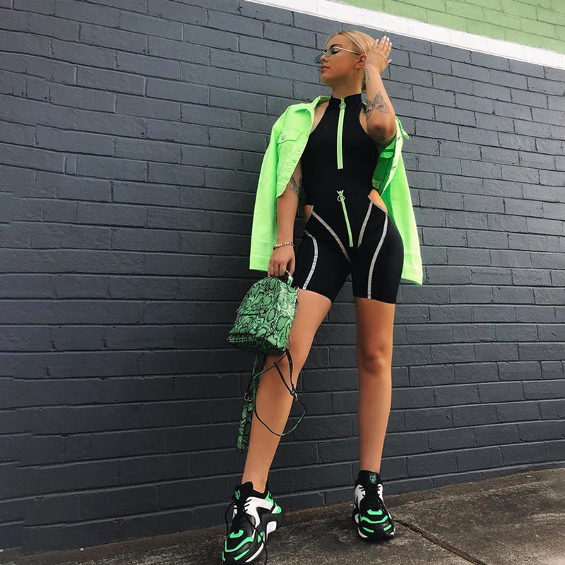 Simenual Casual Sporty Women Two Piece Sets Reflective Striped Zipper Outfits Bodysuit And Cut Out Shorts Set Streetwear