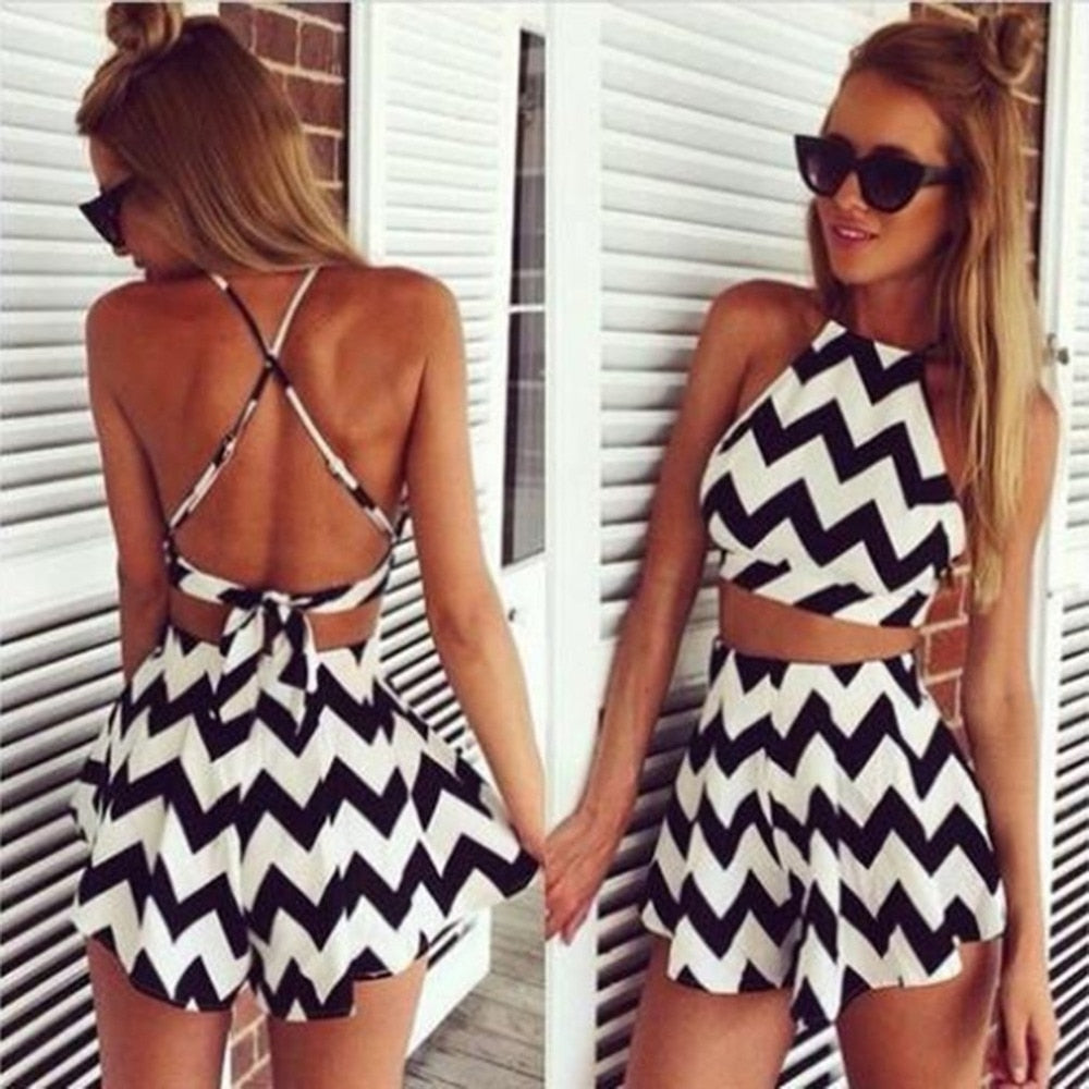 Fashion Women Two Pieces Striped Culotte Sexy Backless Dress Halter Suspenders Sleeveless Back Cross Crop Top & Mini Skirt sale - outoff