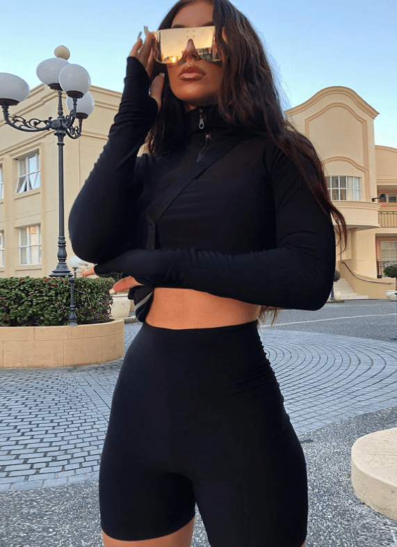 Hugcitar long sleeve zipper high neck elastic sexy crop tops shorts 2-pieces  summer autumn women fashion casual sports sets - outoff
