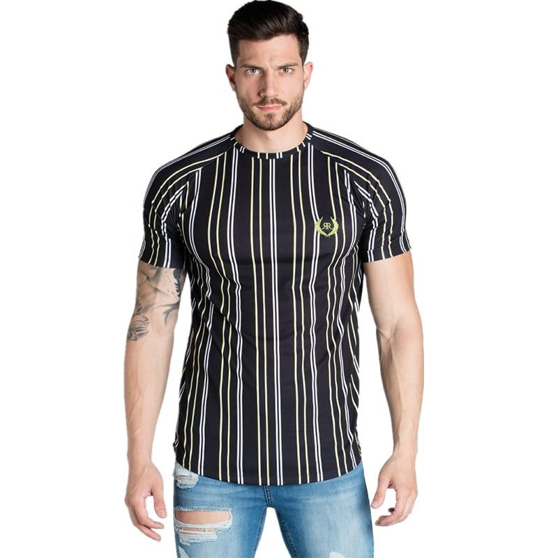 Casual Men T-shirt Stripe Summer Man Tshirt - outoff