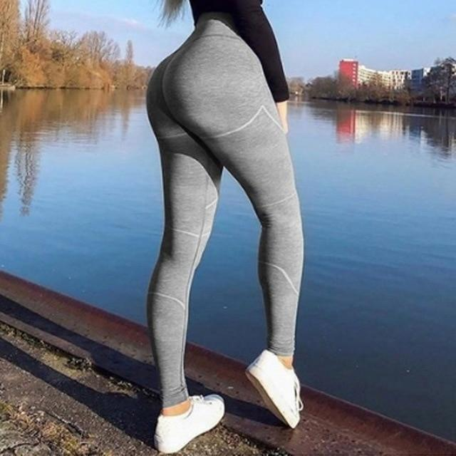 Vertvie Letter Printed Women Sport Leggings High Waisted Push Up Yoga Pants Woman Gym Fitness Running Tights Running Legins - outoff