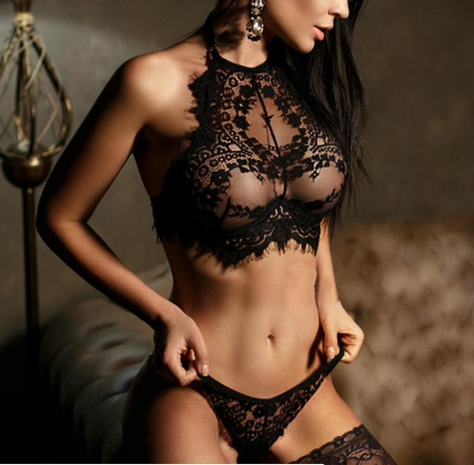 Sexy bra set lace transparent push up women lingerie bralette seamless thong panties wire free thin underwear lenceria