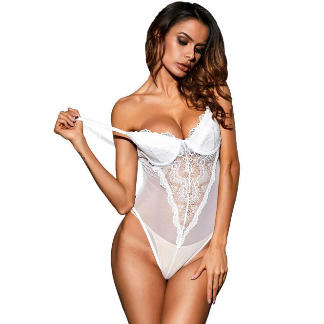 Sexy Black/White Lace Cup Mesh Bodysuits Sleeveless Hammock Patchwork Hollow Out Shoulder Strap Bedtime Underwire