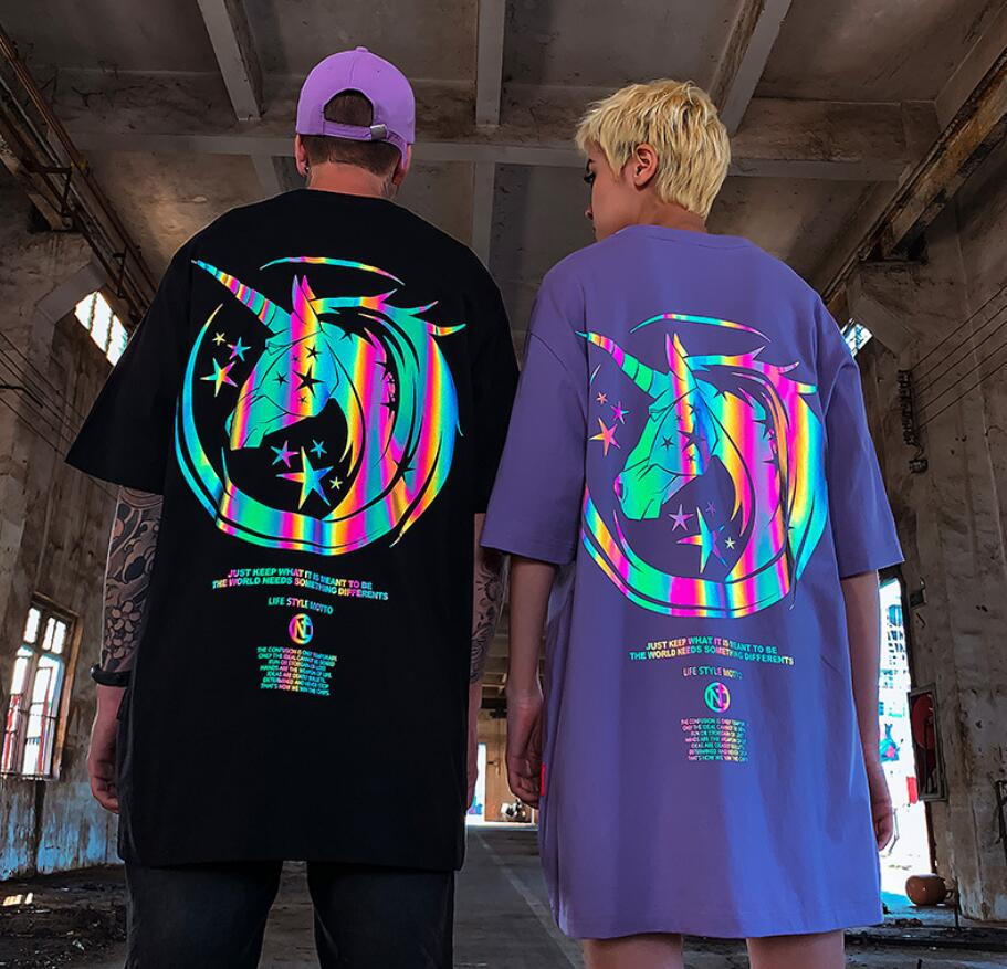 Unisex Unicorn Reflective Print Casual T Shirt Men Women Oversize Shirts Short Sleeves Couple Clothes - outoff
