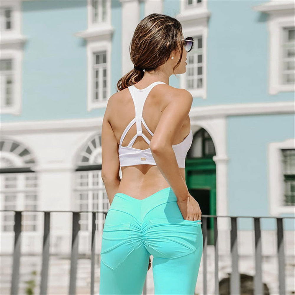 Women Sexy Push Up Leggings Hip Pocket Scrunch Butt Leggings High Waist Active Pants Workout Fitness Slim Pencil Pants