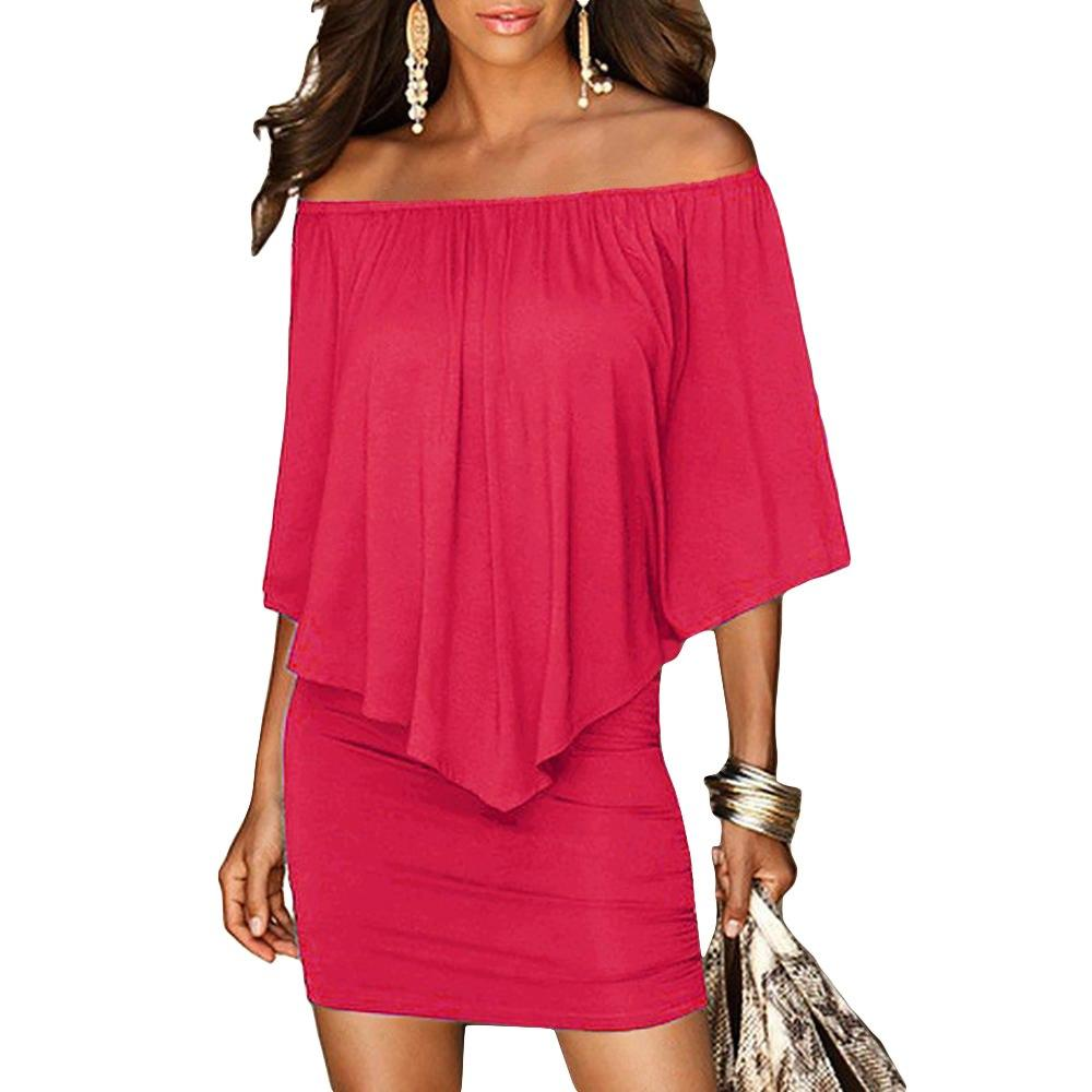 Slash Neck Women  Summer Style Off Shoulder Sexy Dresses - outoff