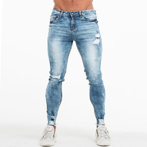 OutOff Men Slim Fit Ripped Jeans Blue S9876 - outoff