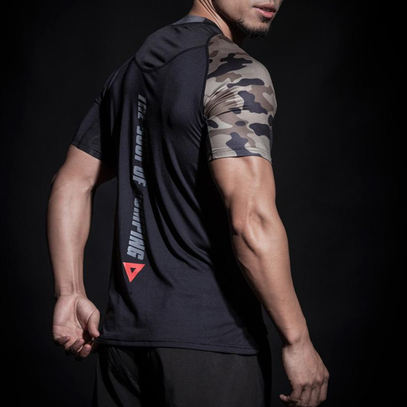 Camouflage Spliced Rashgard Men T-shirt Men Sport Running Compression Shirts Fitness Gym Shirt Clothing Dry Fit  Tops - outoff
