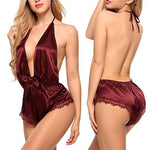 Sexy Women's Sleepwear Sexy Satin Pajama Set Black Lace V-Neck Pyjamas Sleeveless Cute Cami Top And Shorts Erotic lingerie - outoff