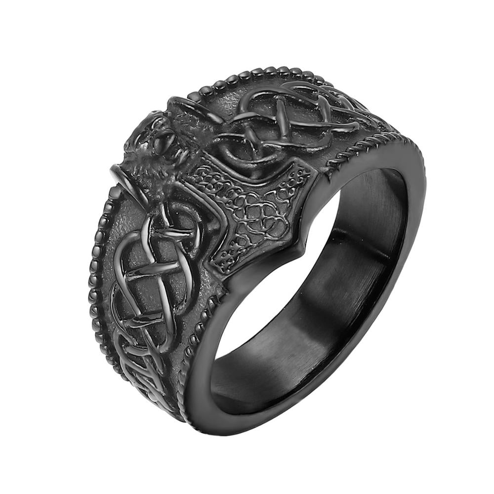 Thor's Hammer Celtic Knot Ring Mens Nordic Lion - outoff