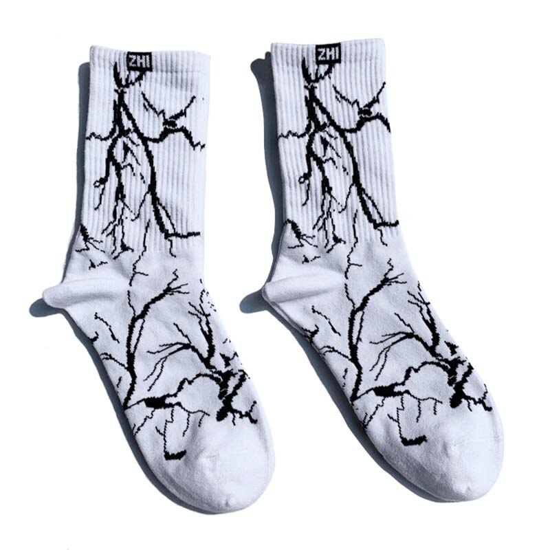 Men Streetwear Lightning Printed Socks - outoff