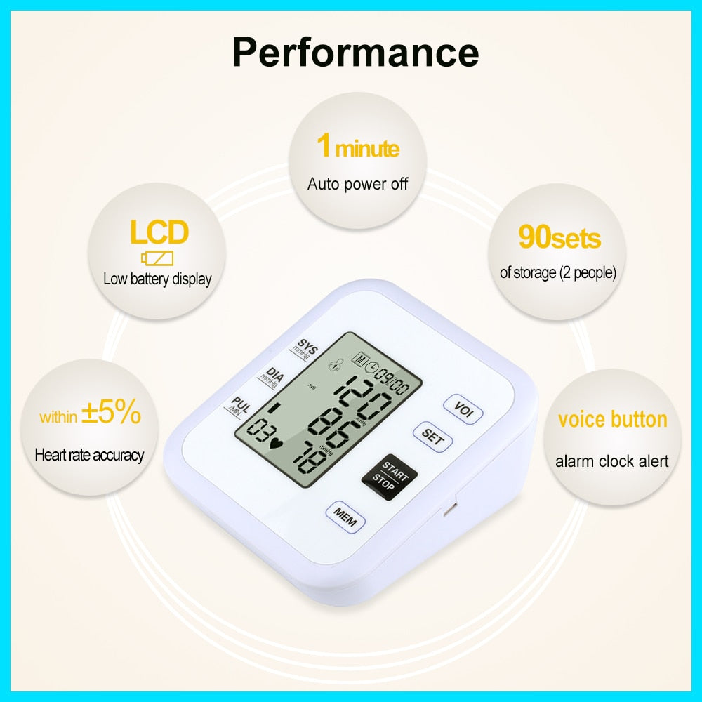 Health Care Arm Blood Pressure Monitor Heart Beat Rate Pulse Meter Tonometer Sphygmomanometers pulsometer - outoff