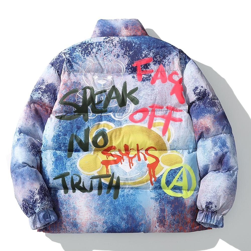 Hip Hop Color Block Bear Graffiti Parkas - outoff
