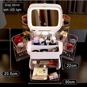 LED Makeup Mirror With Light Cosmetic Storage Box Lipstick Finishing Box Drawer Type Vanity Mirror Skin Care Product Storage Box - outoff