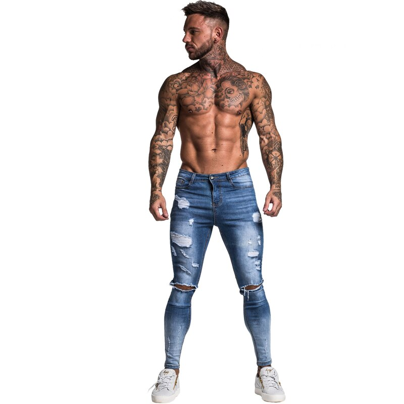 Outoff Skinny Men Slim Fit Ripped Jeans Navy Blue S3210 - outoff