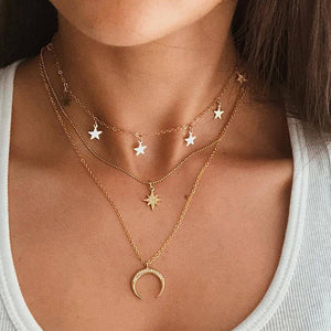Moon Star Gold Color Multilayer Crystal Pendant Necklace - outoff