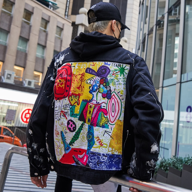 OutOff Men Streetwear Graffiti Appliques Printed Jeans Jackets - outoff