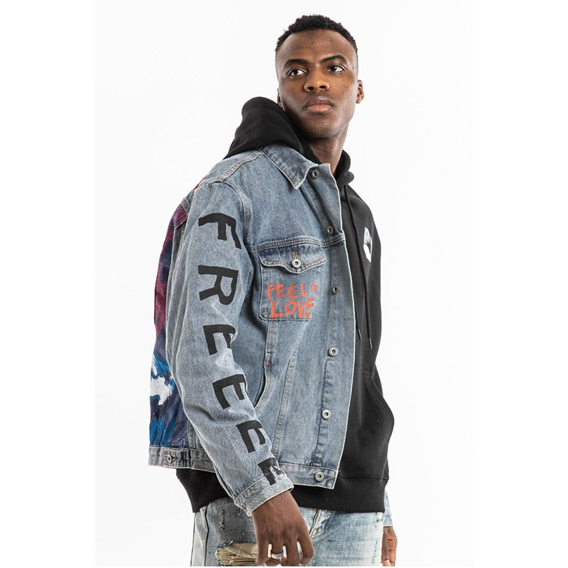 Kanye West KIDS SEE GHOSTS Graffiti Mens Jeans Jackets - outoff