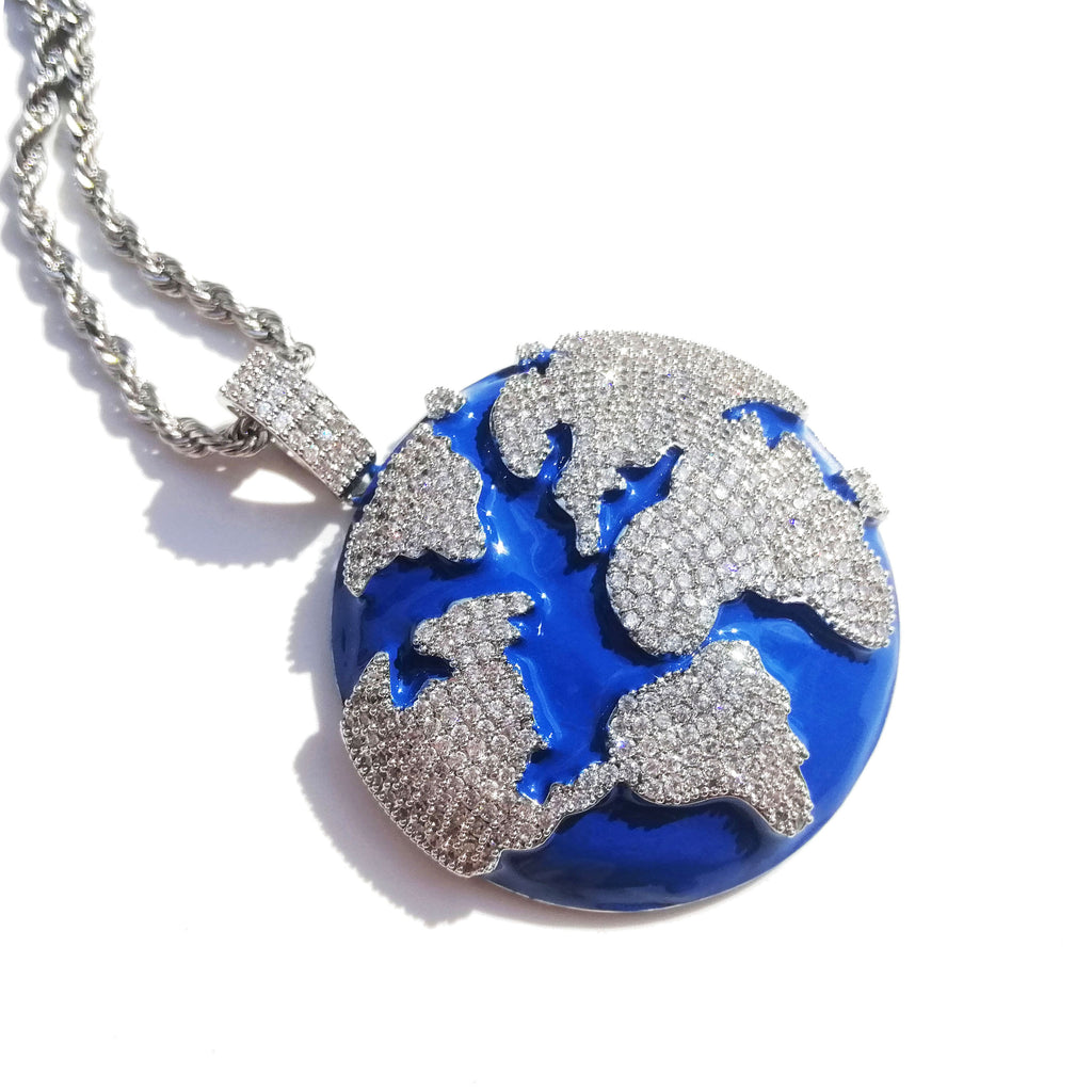 Iced Out Blue Earth Pendant Bling Cubic Zircon Necklace For Men and Women Fashion Hip Hop Jewelry Gifts - outoff