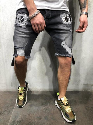 Patchwork Ripped Summer Shorts - outoff