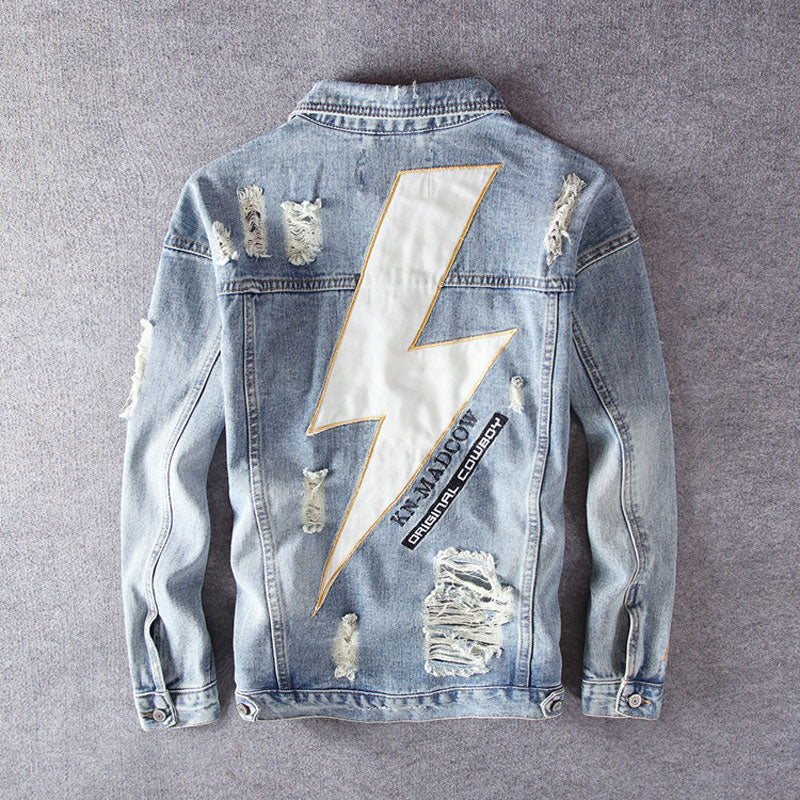 Streetwear High Quality Destroyed Ripped Denim Jacket - outoff