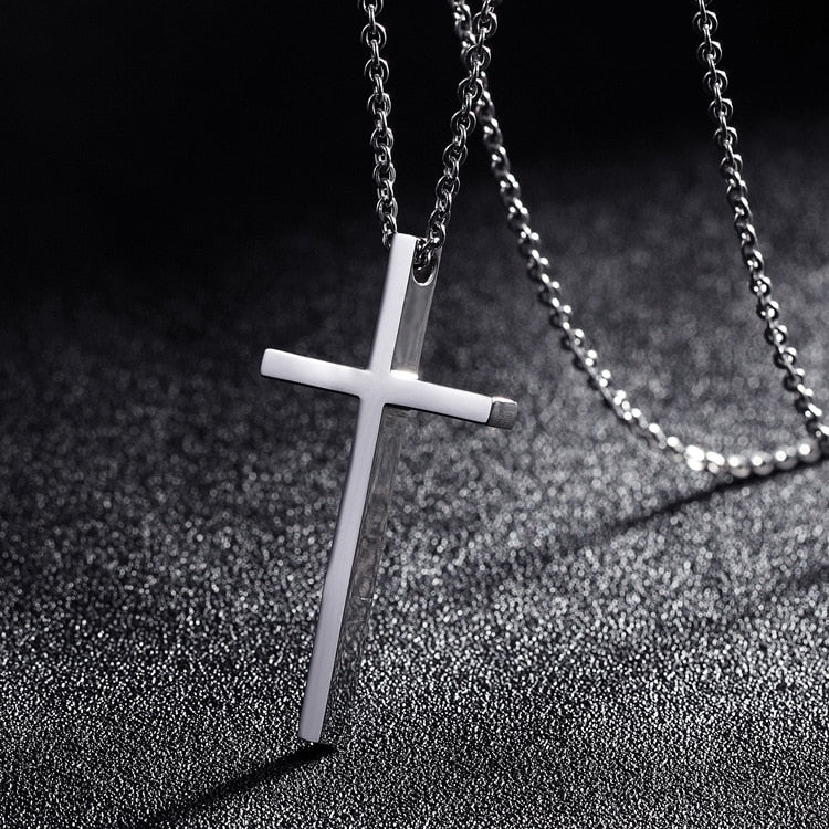Titanium Steel Cross Pendant Necklace