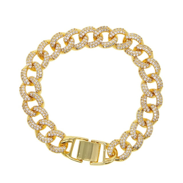 ced Out Miami Bracelet Hip hop Jewelry Gold cz Thick Heavy Miami cuban link Material Iced CZ Chain Bracelet - outoff