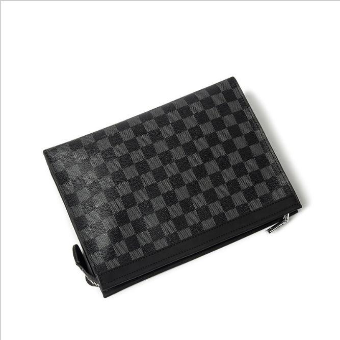 Classic Checkered Plaids Men Handbag PU Clutch Pratical Business Leisure Large Capacity Purse Wallet Men Wallet Checkerboard Bag - outoff