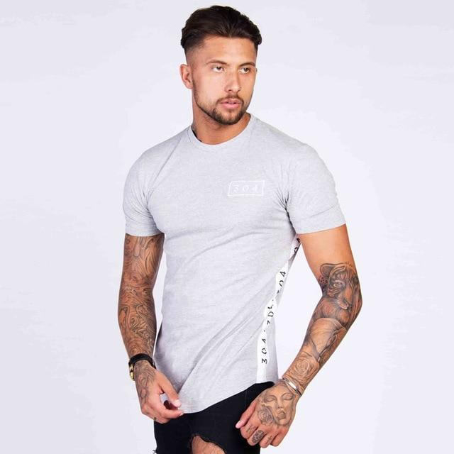 Men Cotton Tshirt Fitness Slim Patchwork - outoff