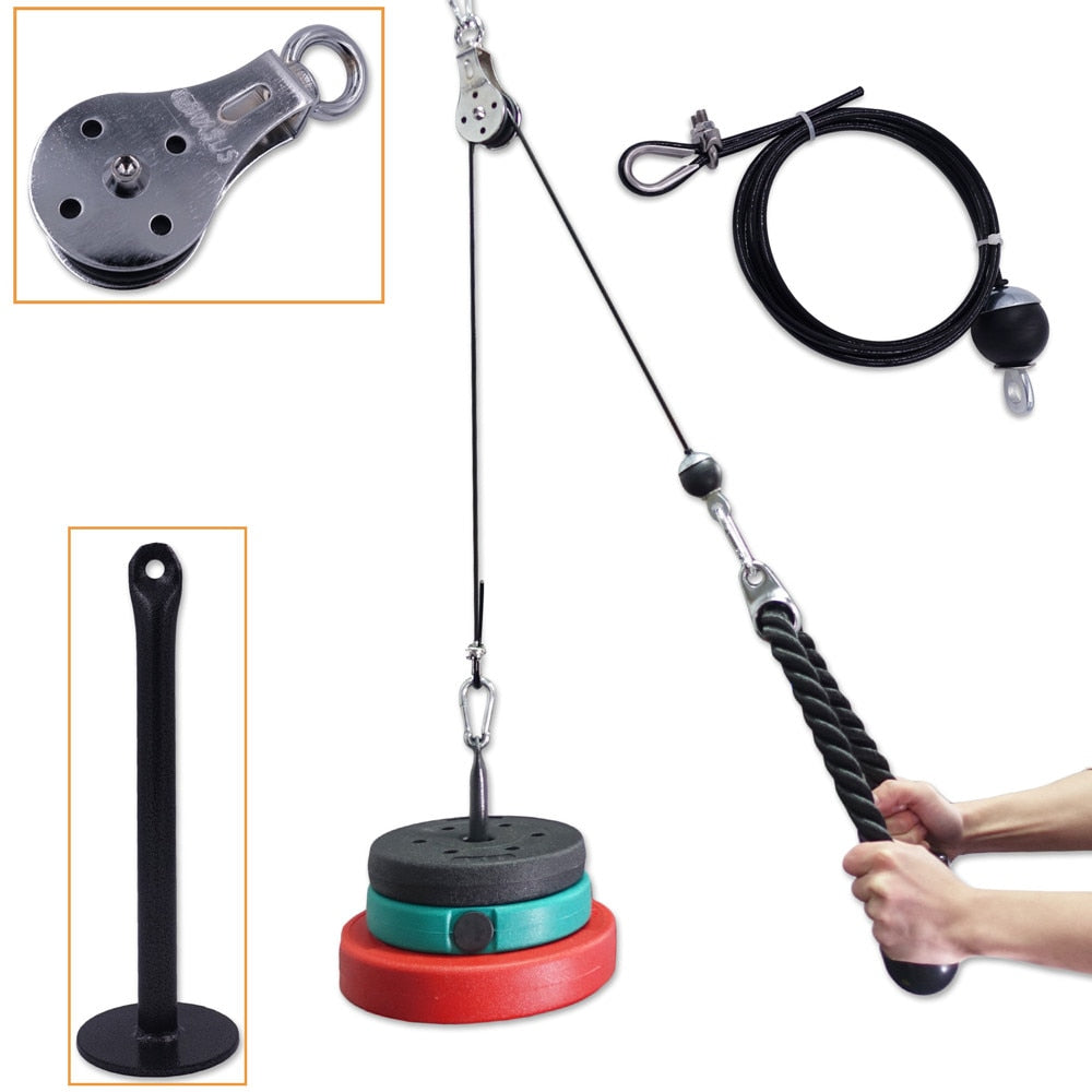 Fitness Pulley Cable System DIY Loading Pin Lifting Triceps Rope Machine Workout Adjustable Length Home Gym Sport Accessories - outoff