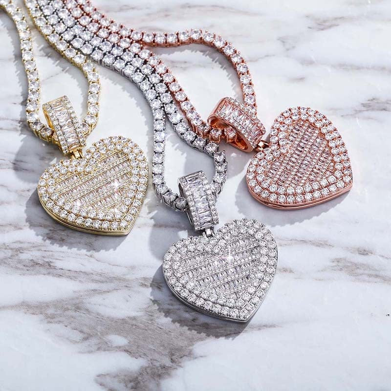 Ice Out Heart Shape Photo Frame Memory Medallions Pendant Necklaces